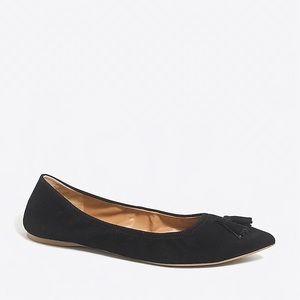 Suede tassel stretch flats- black